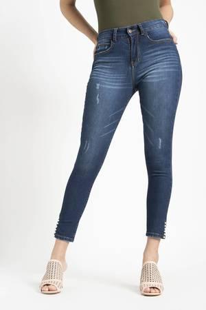 7546d89aab Jeans H O skinny con detalles de perlas